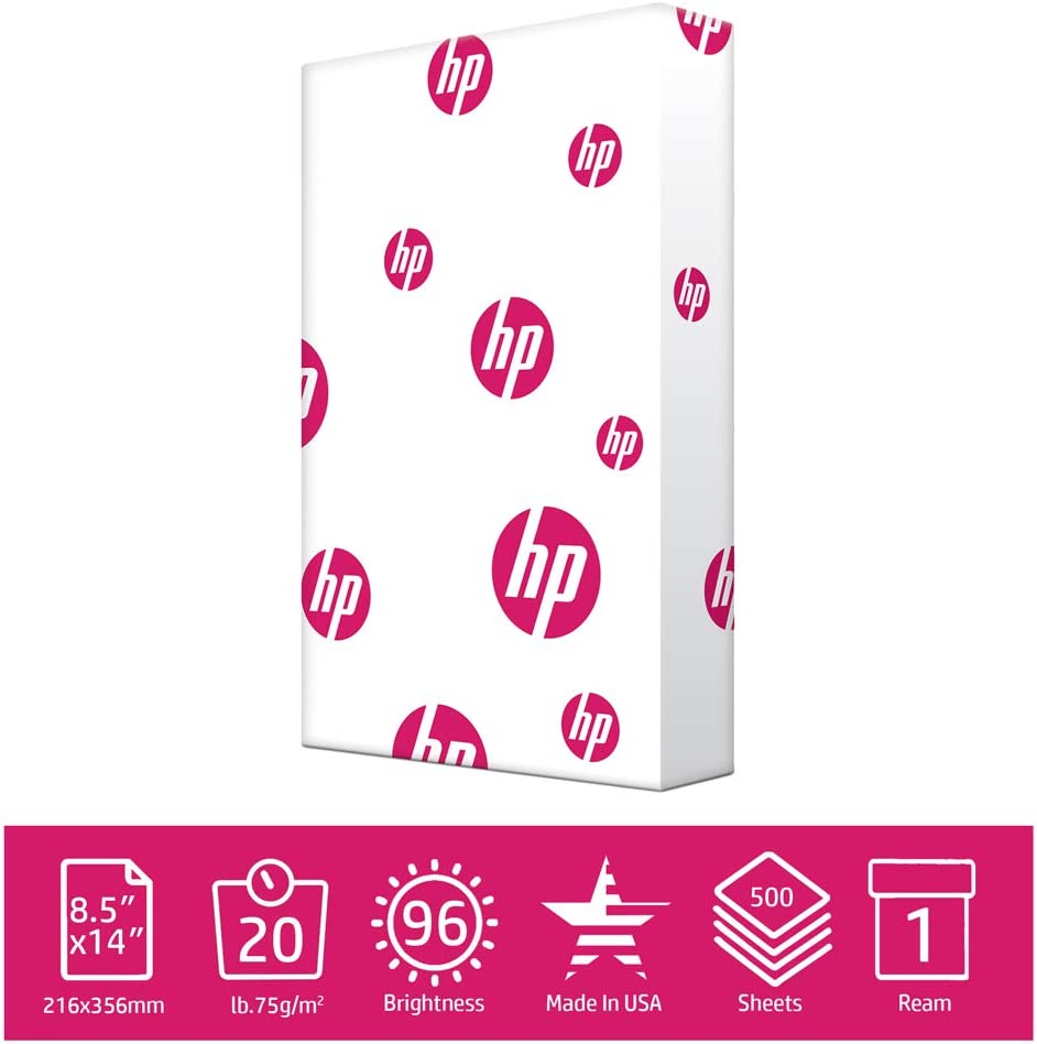B00006IDS8 HP Printer Paper MultiPurpose 20lb, 8.5x14 Paper, 1 Ream, 500 Sheets, Made in USA, Forest Stewardship Council Certified Resources, 96 Bright, Acid Free, Engineered for HP Compatibility, 001420 61d8PhjRC6L