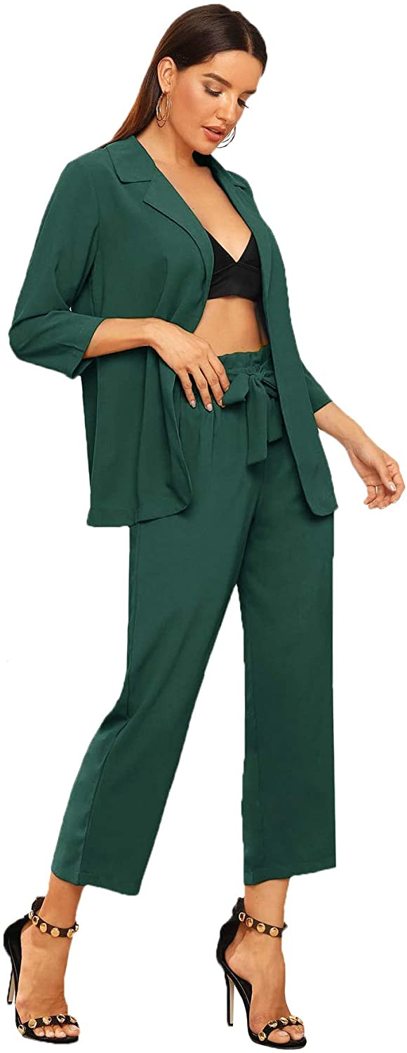 SheIn Womens 2 Piece Outfit Notched Neck 3//4 Sleeve Blazer and Wide Leg Belted Pants Set