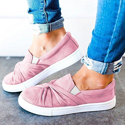 Ruched Blivener Sneaker Slip Loafers Top On Fashion Women's 02pink Knot Flatform YgrOwxgq