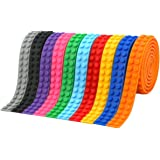 VERONES lego001 Loops Building Block Tape Multicolor Silicone Non Toxic Safe Tapes with Reusable Self Adhesive Strips as Brick Base Plates for Lego Toy Building Block Perfe (1 Meter/Roll), 10 Rolls