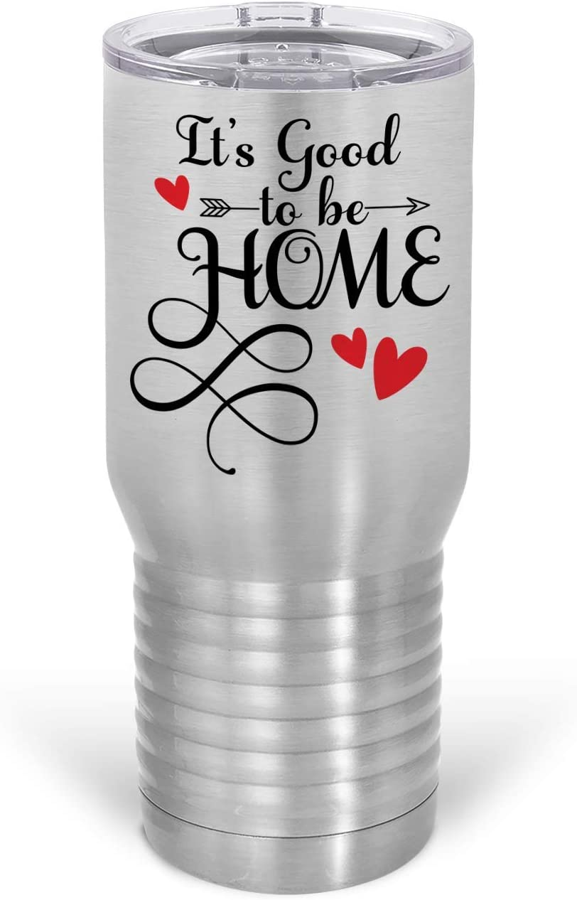 HARD EDGE DESIGN It's Good To Be Home Hearts Metal Tumbler, Stainless Steel, 20oz