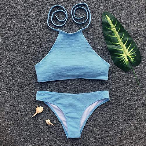 Weite Women's Two-Piece Pleated Halter Swimsuit, Sexy Sport Swimsuit Padded Push Up Bikini Sets Swimwear Suits (Sky Blue, S) ()