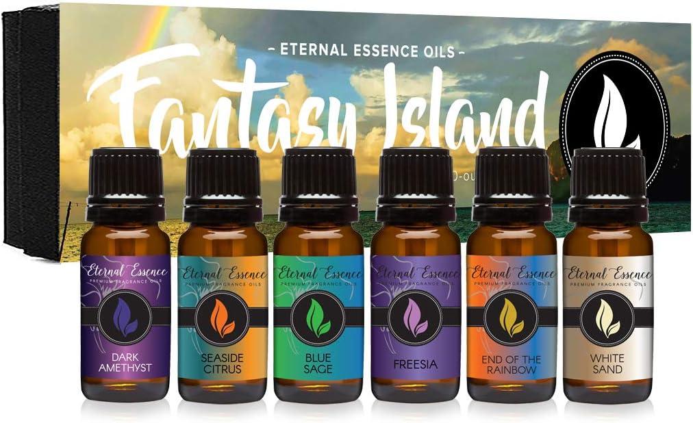 Fantasy Island - Gift Set of 6 Premium Fragrance Oils - Freesia, Dark Amethyst, Blue Sage, End of The Rainbow, White Sand, Seaside Citrus - Eternal Essence Oils
