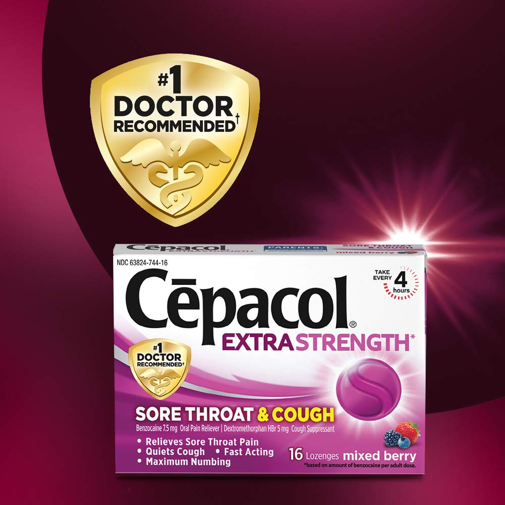 Cepacol Extra Strength Sore Throat Relief Lozenges, Mixed Berry Cough  Drops, Maximum Numbing- Fast