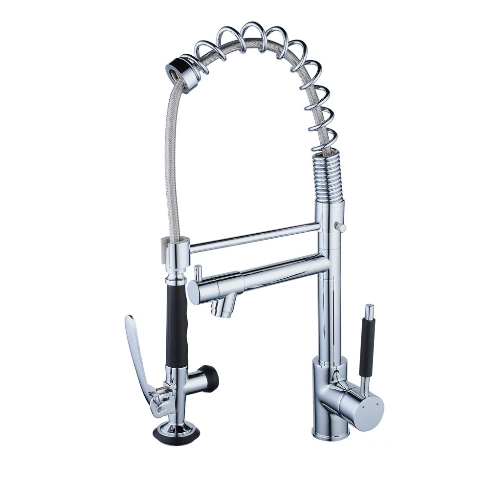 Beelee Kitchen Faucets with Pull Down Sprayer Chrome Replacement Head Commercial Sink Tap by Beelee