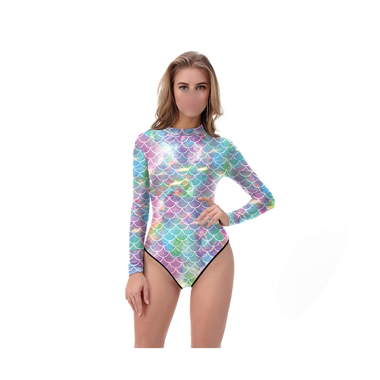 Holiday-Online-Store Swimsuit Women Colorful Mermaid One Piece Swimsuit Long Sleeve Zippper Printed Swimsuit