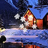 EAMBRITE Moving Flurry Snowflake Spotlight LED Projector Light Xmas Decorative Light for Indoor and Outdoor Use (White)
