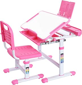 NEEZEE Kids Desks, Adjustable Kids Desk and Chair Set, Children School Student Study Table and Chair for Kid Boys Girls, with Tilt Writing & Drawing Desktop, Storage Drawer, Pencil Case, Bookstand