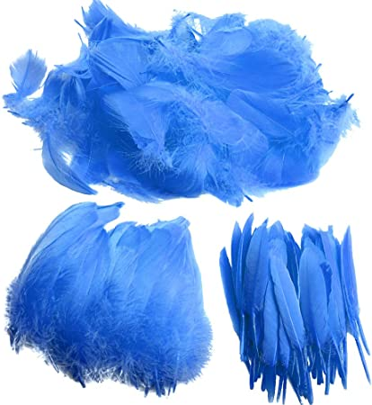 HaiMay 450 Pieces Blue Feathers for Craft Wedding Home Party Decorations 3-5 Inches Blue Craft Feathers
