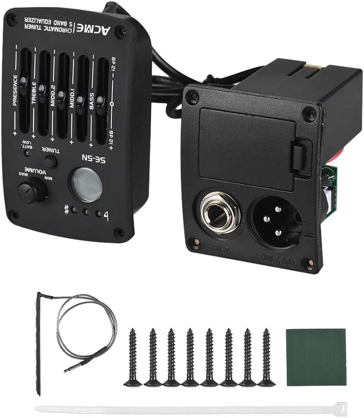 Festnight Acoustic Guitar Pickup 5 Bands EQ Equalizer Preamp Piezo Pickup with LCD Tuner