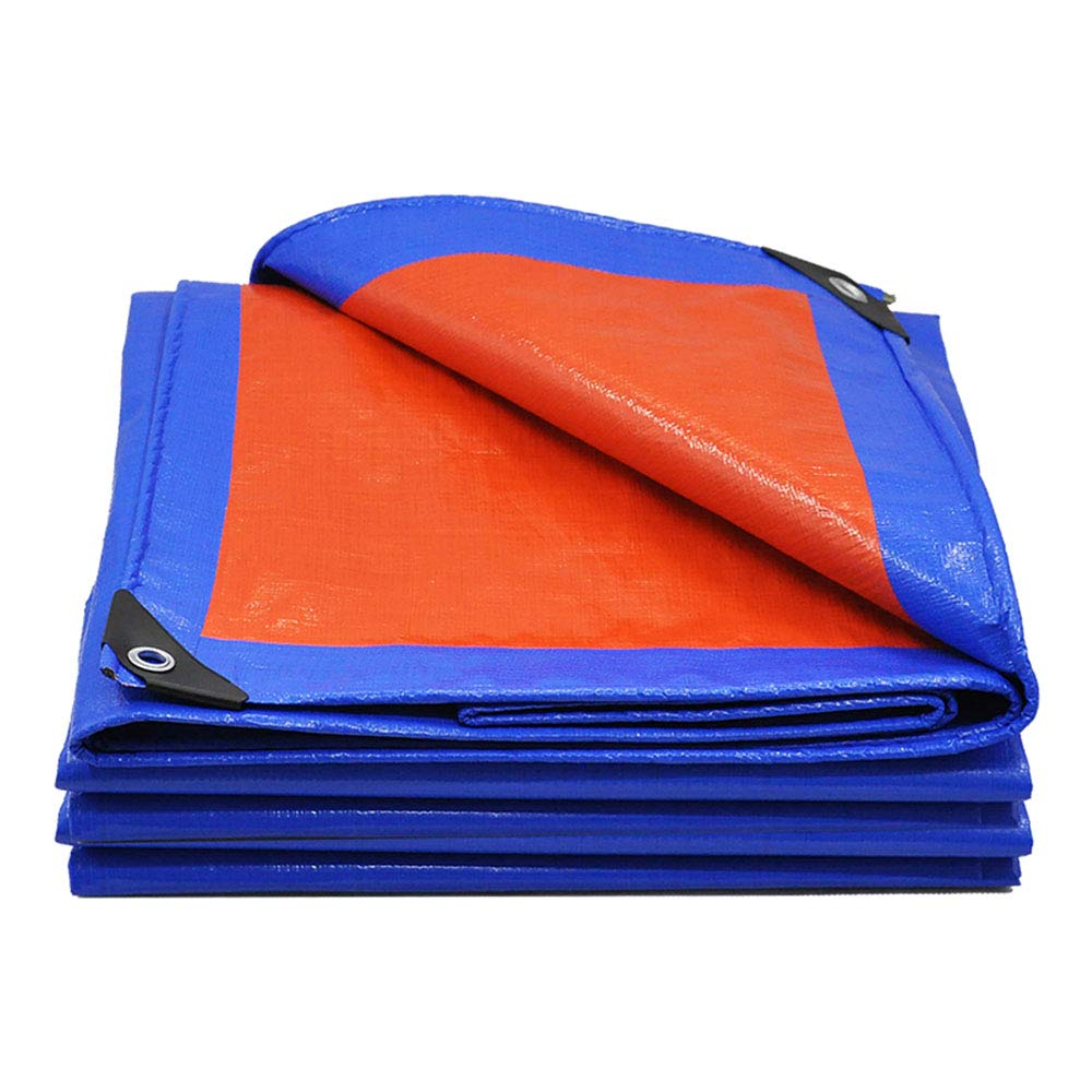 Plane Wasserdichtes Heavy Duty - Universelles Blaues / Oranges Planenblatt - Premium-Qualitätsdeckel Hergestellt Aus 180 Gramm / Quadratmeter Plane - Alle Kanten Mit Doppeltem Material Vernäht