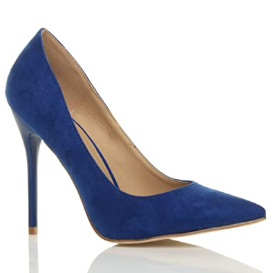 Womens ladies high heel pointed contrast court smart party work ...