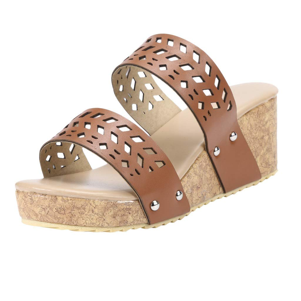 ℱLOVESOOℱ Women Strap Wedge Platform Slip-On Slide Sandals Cork Faux Summer Slippers Hollow Dress Shoes Plus Size Brown