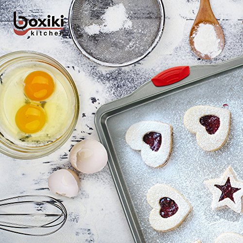 Baking Sheet Set Nonstick, 3-Piece by Boxiki Kitchen | Non-Stick Steel Commercial Bakers Sheet Pans | Cookie Baking Molds With Silicone Handles