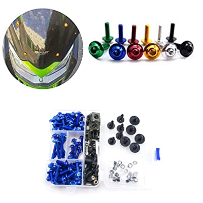 Motorcycle Kits Complete Bolt Fairings Bolt Kits screw Clips For Yamaha Honda Suzuki Bmw Kawasaki Ktm Ducati MT07 MT09 Z1000 CBR1000RR CBR600RR (Blue, 1): Automotive