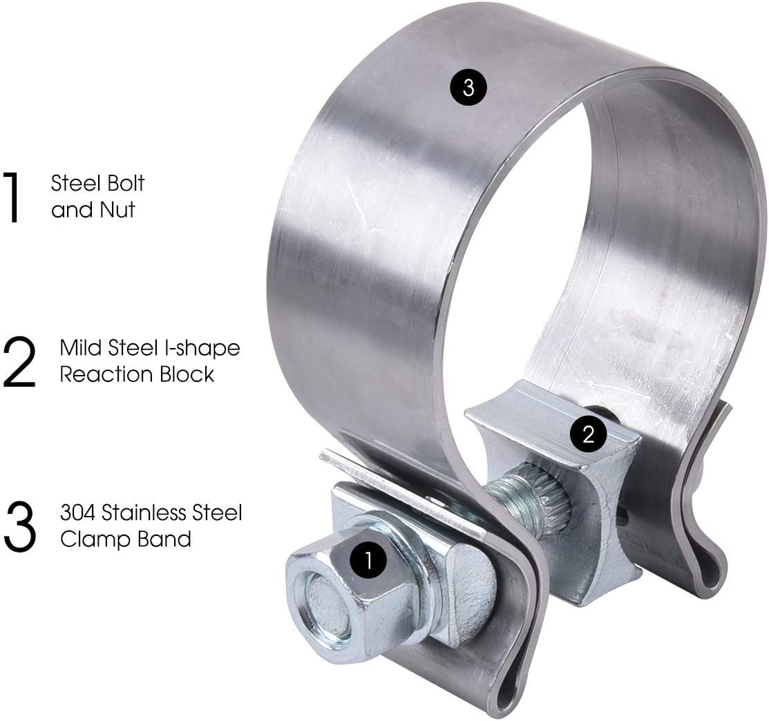 EVIL ENERGY 2 Inlet 3 Outlet Exhaust Burnt Muffler 14.8 Length Bundle with 2.0inch Seal Exhaust Muffler Clamp