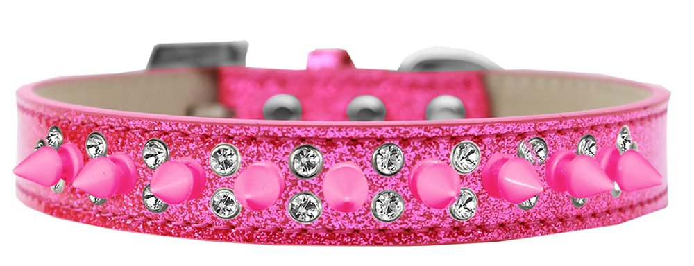 Mirage Pet Products Double Crystal and Bright Pink Spikes Dog Collar Pink, Ice Cream, Size 20 by Mirage Pet Products