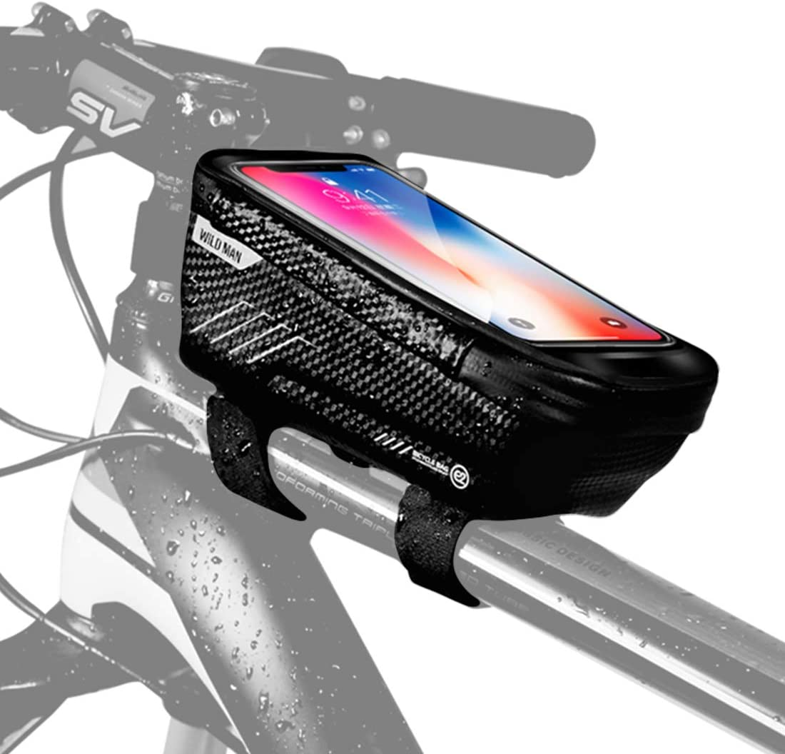 WILD MAN Road Bike Phone Mount Bag Waterproof Handlebar Top Tube Storage Cycling Bicycle Package Bike Front Frame Bag MTB Touch Screen Phone Holder Case E2