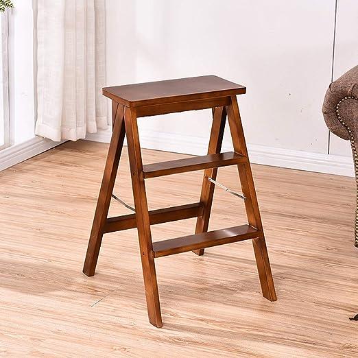 Taburete multiusos de madera con 3 peldaños y escalera plegable para el hogar, biblioteca, ático, cocina, 4.13: Amazon.es: Hogar