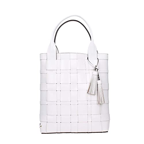 Michael Kors Vivian Large Woven North South Leather Tote in Optic White   Amazon.co.uk  Shoes   Bags 9238b3326f6fd