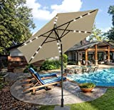 SUNNYARD 9 Ft Outdoor Solar Powered LED Lighted Patio Umbrella Aluminum Table Market Umbrella with Crank and Tilt, Taupe