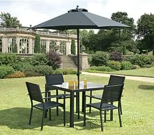 Comedor muebles de exterior de 6 piezas juego de 4 x for Sombrillas jardin amazon