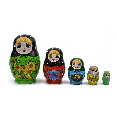 Soulitem 5 Capas Muñecas Rusas De Madera Colorida Pintada A Mano Matryoshka Doll Lindo Juguete de Anidación Artesanal Hecho A Mano Niños Juguetes para Niños: Hogar