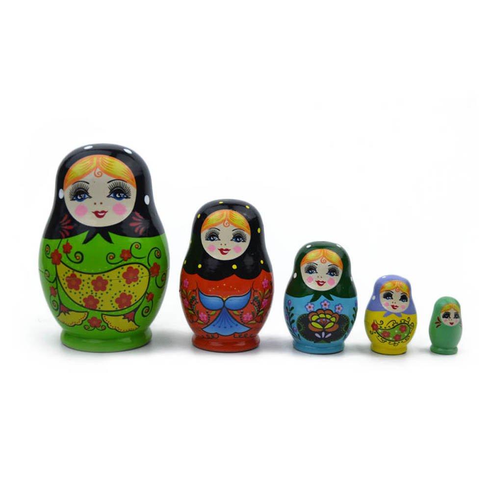 Soulitem 5strati bambole russe in legno colorato dipinto a mano Matrioska cute Nesting giocattolo fatto a mano artigianato giocattoli per bambini