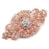 Mariell Vintage Rose Gold Bridal Crystal Brooch Pin - Blush Rose Gold Rhinestone Wedding & Fashion Glam