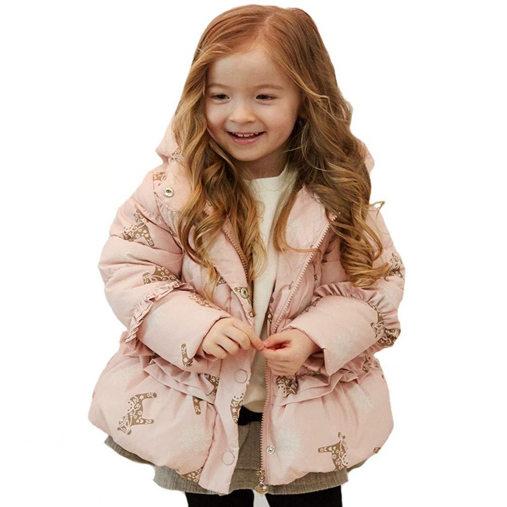 rose 100cm RSTJ-Sjc Doudoune bébé à Capuche imprimée Filles Courtes Doudoune Enfant modèles 90130cm, Deux Couleurs en Option