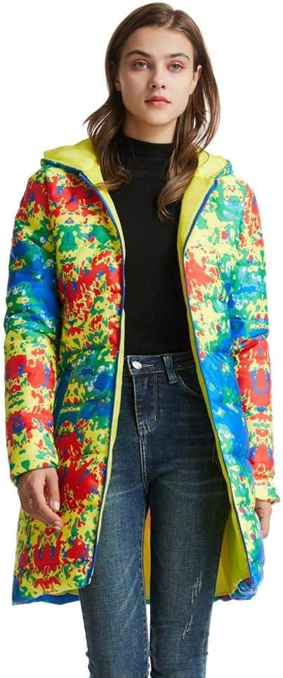 XJXDWY Invernale Sezione Lunga Cappuccio da Donna Piumino Vestiti Caldi da Esterno Cappotto Animazione Stampa Sportivo Abbigliamento(XXS-4XL) Colorful