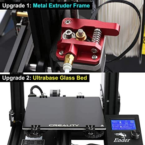 ENOMAKER Creality Ender 3X 3D Printer with Ultrabase Glass Bed and Aluminum Alloy Bowden Metal Exutruder Frame, Resume Printing, 220×220×250mm