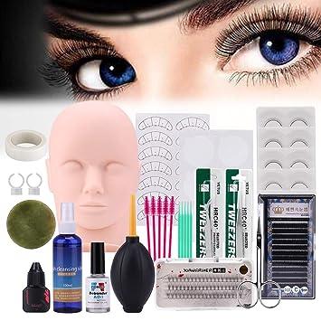 de314916608 Amazon.com : Pro 19pcs False Eyelashes Extension Practice Exercise Set, Professional  Head Model Lip Makeup Eyelash Grafting Training Tool Kit for Makeup ...