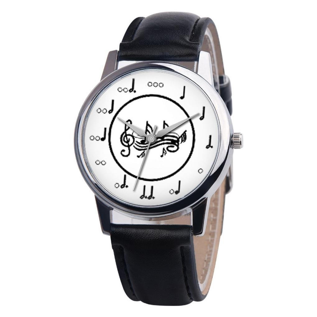 vmree Women Girls Music Series Leather Band Quartz Wrist Watch Musical Note Analog Couple Watch Ideal Gift (A)
