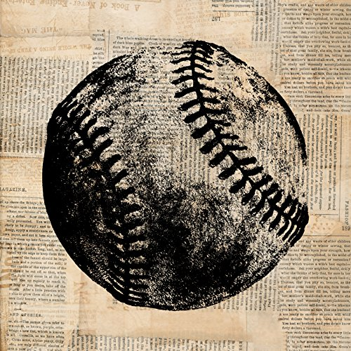 Baseball Illustrations (Vintage Baseball Print with a Rustic Baseball Illustration for Wall Art with a Vintage Newspaper Background Style - Office, Bedroom, Nursery Room, Living Room Home Decor (8 x 8 Inches))