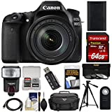 Canon EOS 80D Wi-Fi Digital SLR Camera & EF-S 18-135mm is USM Lens 64GB Card + Battery + Case + Flash + Tripod + 3 Filters + Kit