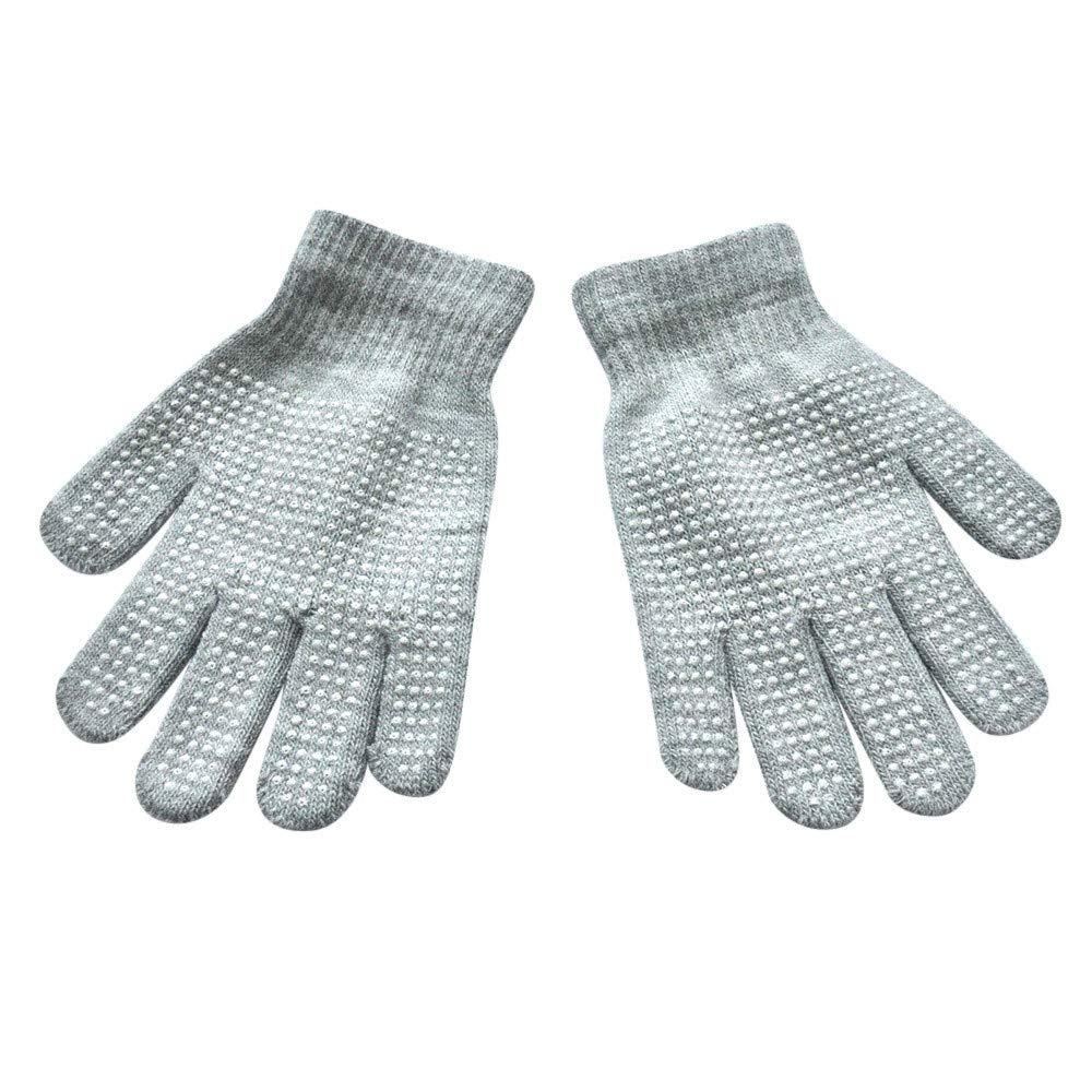 Winter Warm Magic-Stretch Gripper Glove,Alalaso Polyester Kids Size Colorful Set Knit Gloves 15x10cm(Light gray)