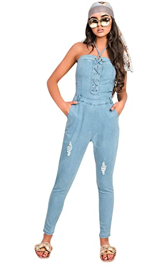 Ikrush Womens Hope Bandeau Lace Up Denim Jumpsuit Size In Light