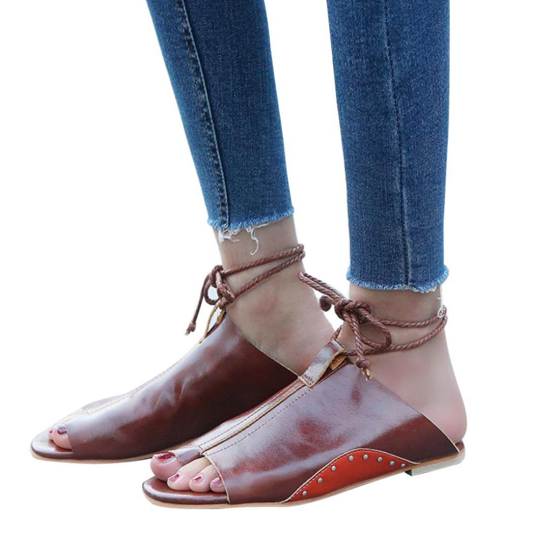 Sommer Sandalen,Resplend Frauen Sandalen Rouml;mersandalen mit Flachem Boden Mode Offene Knouml;chel Bandage Plattform Keile Schuhe Gladiator Casual Sandalen Flip-Flop Schuhe35(Asian35=EU34)|Braun