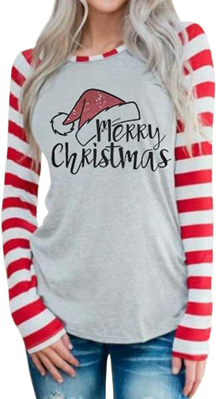 DUTUT Merry Christmas T-Shirt Womens Cute Santas Hat Shirt Long Sleeve Striped Splicing Tops Tees