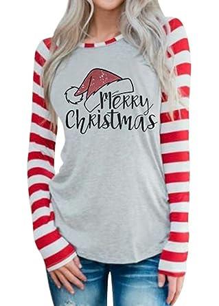 c07119be3 Amazon.com: MNLYBABY Women Merry Christmas Santa Hat Print Baseball T-Shirt  Long Sleeve Letter Print Striped Patchwork Tops Tees: Clothing