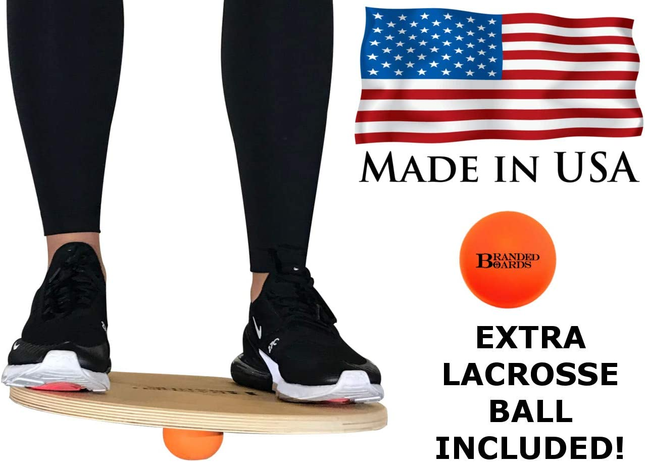 Branded Boards Made in USA Wobble Balance Board. Great Balance Boards for Exercise or Standing Desk Balance Board. Wobble Board Original Design Using a Natural Rubber Lacrosse Ball.