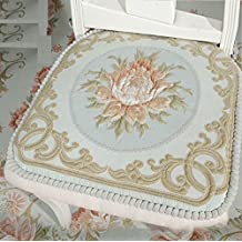 """Sideli - Classic European Puff Jacquard Decorative Chair pad Seat Cushion with High Quality Memory Filling and 2 Belt for Fix (18""""x18"""", Green02)"""