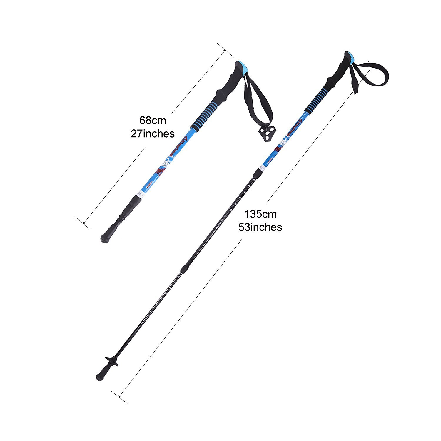 KingCamp Ultralight Three Section Carbon Fiber Anti Shock Hiking Trekking Walking Trail Poles, 2 pack