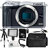 Canon EOS M6 Mirrorless Digital Camera (Body Only, Silver) 9PC Accessory Bundle – Includes 32GB SD Memory Card + MORE - International Version (No Warranty)