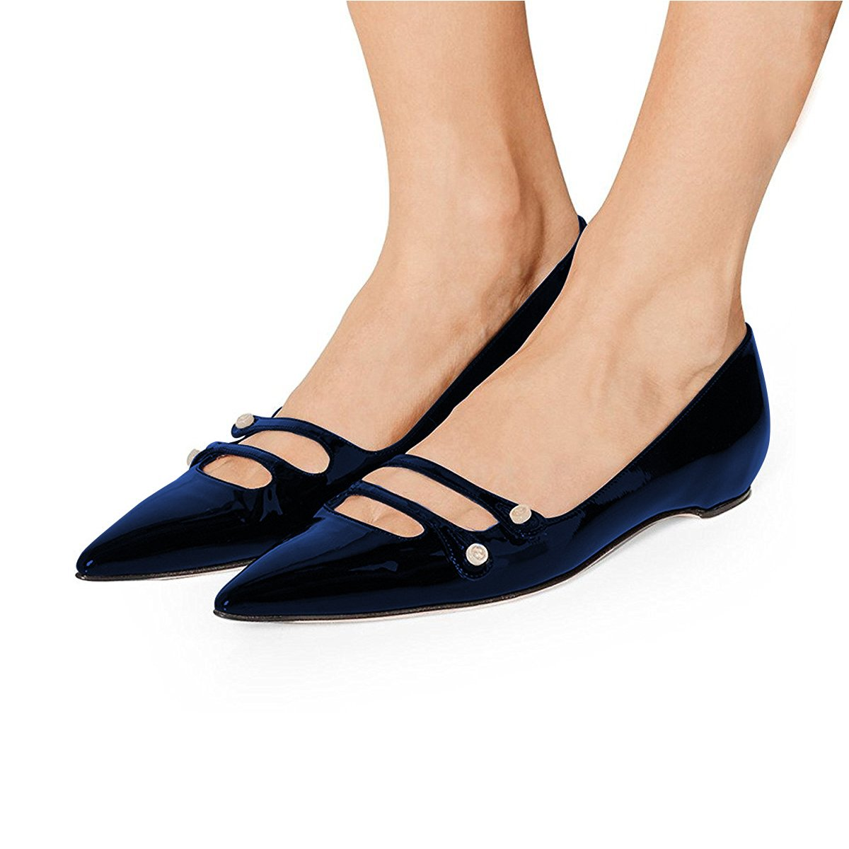 YDN Women Pointed Toe Slip on Flats Hidden Low Heels Pumps Comfort Shoes with Straps B077G7BXWC 13 M US|Navy
