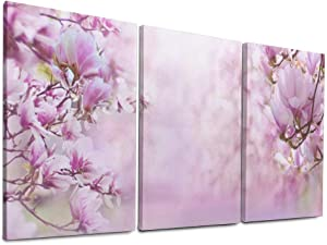 Wall Art Ready to Hang Nature Landscape Magnolia Flowers Magnolia Blossom for Home Decor 16x32 Inch x3 Pcs Bedroom Wood Framed Canvas Prints