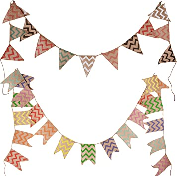 BUONDAC 2pcs Guirnaldas Banderines Banderitas Tela de Lino Decoración Fiesta Navidad Cumpleaños Boda Bautizo Jardín Hogar Banderas Triangulares (Onda de Colores): Amazon.es: Juguetes y juegos