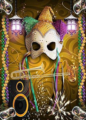 GladsBuy Shining Mask 5' x 7' Computer Printed Photography Backdrop Halloween Theme Background (Custom Halloween Masks Photo)