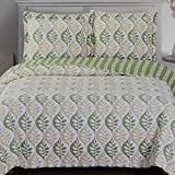 King Size Comforter Sets 110 X 96 Quilt Coverlet Shams Set 3 Piece King/California King Size Oversized (110x96) Printed Leaves Tropical Pattern Yellow Green Lightweight Reversible Hypoallergenic Wrinkle Resistant Bedding